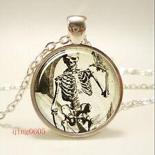 Vintage skeleton frame Cabochon Tibetan silver Glass Chain Pendant Necklace #F15
