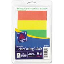 "Avery Removable Color Coding Labels, 1"" x 3"", Assorted Neon Colors, Pack of 200"