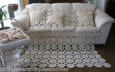 Vintage Ecru Floral Wagon Wheel Crochet Bedspread Throw Queen Full Twin 66x90