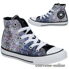 Kids Girls Boy CONVERSE All Star SPECKLED PRINT HI Blue Trainers Boot SIZE UK 12