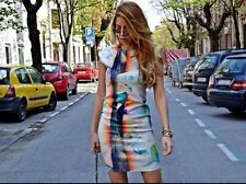 ZARA WOMAN WATERCOLOUR ARTY GEOMETRIC PRINTED BLOGGERS DRESS S 8 10!