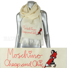 MOSCHINO CHEAP AND CHIC WOOL SCARF SIGNATURE OLIVE OIL LONG WHITE