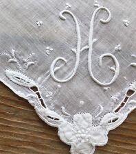 Vintage White Linen Hankie Madeira Style Hand Embroidered Monogram H Wedding
