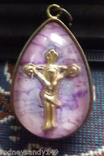 Beautiful Pink Tear Drop Religious Cross Pendant