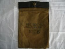 Vintage Canvas & Leather Bank Money Bag, deposit bag, First Trust Co. Albany NY