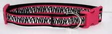 Material Girl Pets Roxy Zebra Adjustable Dog Collar Black Pink White Xl