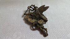 Vintage JJ Jonette Brasstone Metal Glitter Winged Fairy Brooch Pin