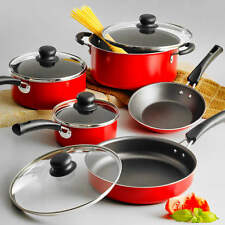Cookware Set Pots And Pans with lids 9-Piece Non-stick Red Kitchen Cooking Set