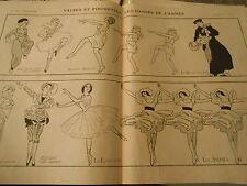 Valses Pirouettes Les Danses de l'Année Cléopatre Nijinski Print Art Déco 1907