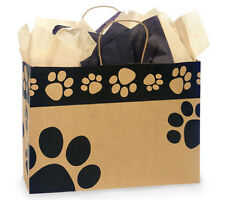 100 Paw Print pet Brown Kraft paper gift bags large quality wholesale 16x6x12