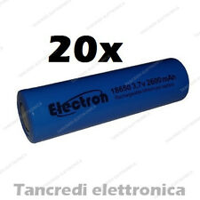 20X Batteria pila litio li-ion lir icr 18650 3.7v 2600mAh pin piatto flat top
