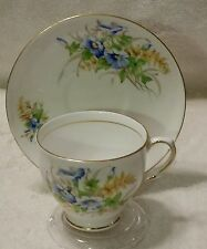 FLORAL TEA CUP AND SAUCER - CLARE BONE CHINA MADE IN ENGLAND BLUE YELLOW GREEN