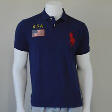 Polo Ralph Lauren Mens Big Pony USA Flag Sleeve Custom-Fit Shirt Small