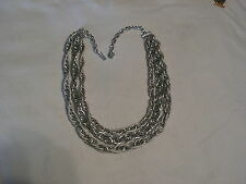 ...Vintage West Germany Silver Tone 3-Strand Rope Chains Necklace...