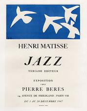 Henri MATISSE Pierre Berés Gallery Exposition Poster MATISSE JAZZ Framed COA