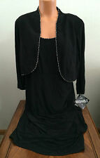 Womens Plus 14W R&M Richards Black 2Piece Dress Special Occasion Washable 4427W