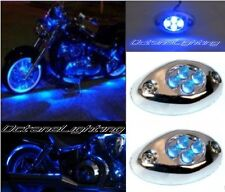 2Pc Blue LED Chrome Modules Motorcycle Chopper Frame Neon Glow Lights Pods Kit