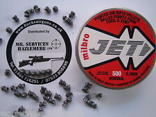 500  Qty - MILBRO JET .22 - 5.5mm TWIN RINGED POINTED AIR RIFLE PELLETS