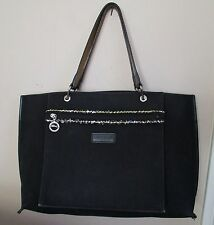 Longchamp Purse Tote Bag black canvas front pocket sequin trim