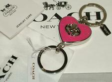 COACH PINK HEART Turnlock Valet Key Chain Ring F58512 $50 NEW Valentine Gift!