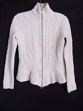 Laren Ralph Lauren Ivory Lambs Wool Zip Cardigan Cable Ski Sweater Women's M CH
