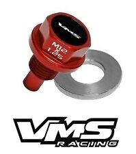 VMS HONDA ACURA MAGNETIC OIL PAN DRAIN PLUG BOLT KIT W/ CRUSH WASHER - RED 2