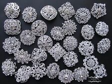 100 Brooch Lot Mixed Silver Pin Wholesale Rhinestone Crystal Wedding Bouquet DIY