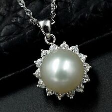 11m White Freshwater Pearl CZ Pendant Necklace Chain 925 Sterling Silver 07495