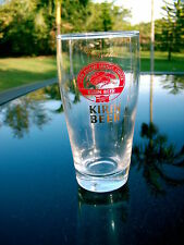 IMPORTED KIRIN  BEER GLASS 5 INCHES GOLD  LOGO GOOD CONDITION