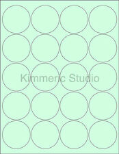 "6 SHEETS 2"" ROUND BLANK GREEN STICKERS LABELS CUSTOM PERSONALIZE"