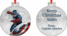 Personalized Captain America Christmas Ornament ( Add Any Message You Want)