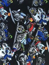 1 Yard Alexander Henry Sport Bike Motorcycle Cotton Fabric Helmet Rare Vintage
