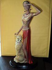 GORGEOUS AFRICAN QUEEN & RUBY-EYED CHEETAH STATUE 16 IN TALL...GREAT BARGAIN
