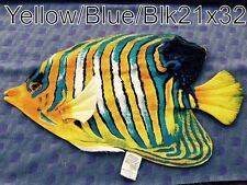 """SMALL YELLOW/BLUE/BLACK TROPICAL FISH  COLORFUL DECORATIVE PILLOW  21""""X 32""""NEW"""