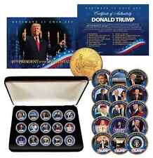 DONALD TRUMP Ultimate 15-Coin Colorized 24K Gold Washington DC Quarter Set w/BOX