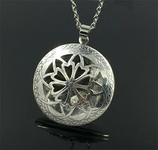 Silver Locket Necklace Fragrance Essential Oil Aromatherapy Diffuser Pendant