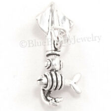 3D SQUID tentacles have fish 925 Sterling Silver Pendant Sea Animal Ocean Charm