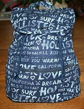 NWT Hollister by Abercrombie Classic Women's Logo Backpack book bag tote Navy