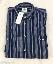 Lacoste Men's Striped Shirt Classic Fit Boreal Blue Flour Iodine EU 40 US M