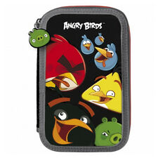 Angry Birds FILLED Double Pencil Case Stationery School Boys Black