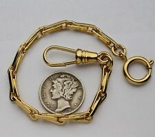 Short American Civil War Weave Style Pocket Watch Chain 14K Gold Plated