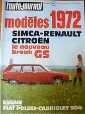 L'AUTO JOURNAL 1971 15 ESSAI PEUGEOT 504 CABRIOLET FIAT POLSKI LE CRAWLER