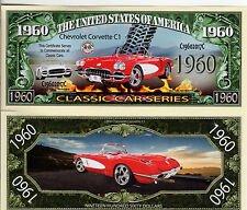 1960 Chevy Corvette C1 - Classic Car Series Million Dollar Novelty Money