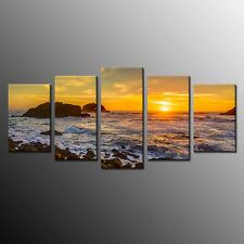 FRAMED HD Canvas Print Art Sea Sunset Wall Canvas Art Painting Home Decor-5pcs