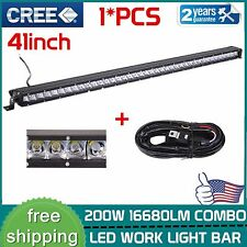 Slim 41 inch 200W Led Light Bar Single Row COMBO Driving Truck Off-road+Wire kit