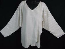 TIENDA HO~Natural Linen Stripe~SUSTI~Tishka Top~L/S DOLMAN~Wrap Front~UNIQUE!~OS