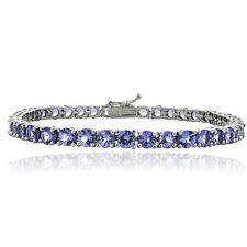 925 Silver 11.25ct Tanzanite 4mm Round Tennis Bracelet
