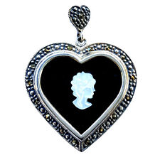CAMEO ONYX HEART Pendant Mother-of-Pearl Cameo Marcasite 925 Sterling Silver