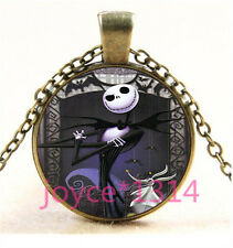 Nightmare Before Christmas Cabochon bronze Glass Chain Pendant Necklace TS-5799