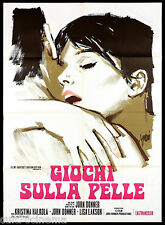 GIOCHI SULLA PELLE MANIFESTO CINEMA SYMEONI 1963 MUSTAA VALKOISELLA POSTER 2F